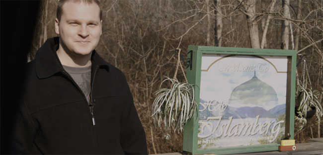 Clarion Project's Ryan Mauro at the entrance to Islamberg.